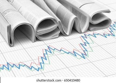 """Word """"news"""" from newspapers over financial graph. Concept of stock exchange and financial news"""