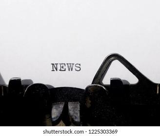 the word  news on old typewriter