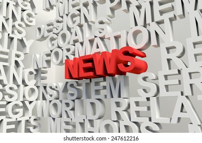 Word News in red, salient among other related keywords concept in white. 3d render illustration.