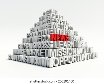 Word NEWS in red, salient among other related keywords concept in white pyramid. 3d render illustration
