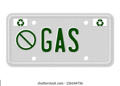 The word No Gas on a gray license plate with recycle symbol isolated on white, No gas Car  License Plate
