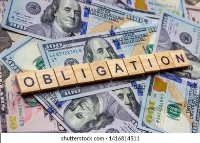 The word obligation on dollar usa background