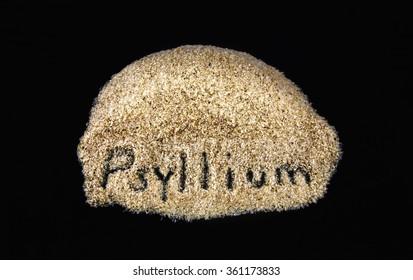 Word on daily dietary fiber supplement psyllium  on a black background