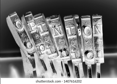 the word  OPINION with old typwriter keys  monochrome