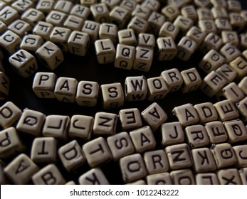 word password with blocks, on a black background, about education, training, knowledge and information