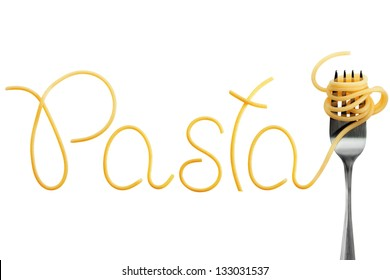 Word pasta made of cooked spaghetti with fork