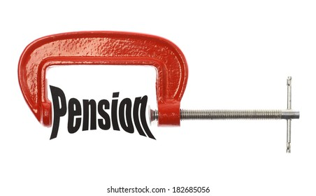 """The word """"Pension"""" is compressed with a vice. Business metaphor."""