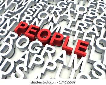Word People in red, salient among other related keywords in white. 3d render illustration.
