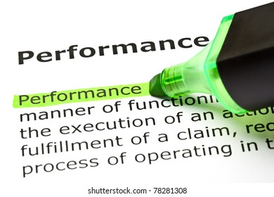 The word Performance highlighted in green with felt tip pen.