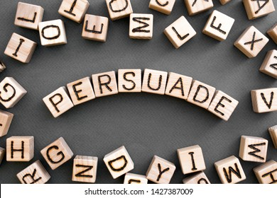 the word persuade wooden cubes with burnt letters, to persuade person in a dispute, gray background top view, scattered cubes around random letters