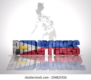 Word Philippines with National Flag near map of Philippines