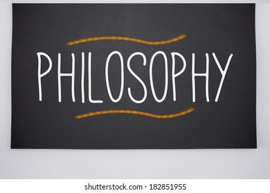 The word philosophy written on big blackboard