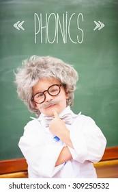 The word phonics against pupil wearing peruke and eyeglasses