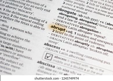 The word or phrase Abrupt in a dictionary.