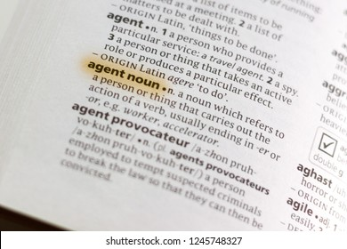 The word or phrase Agent Noun in a dictionary.