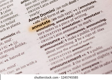 The word or phrase Annotate in a dictionary.