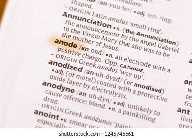 The word or phrase Anode in a dictionary.