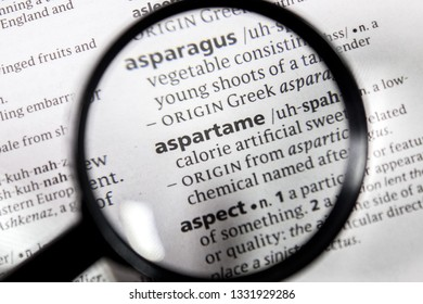 The word or phrase aspartame in a dictionary.