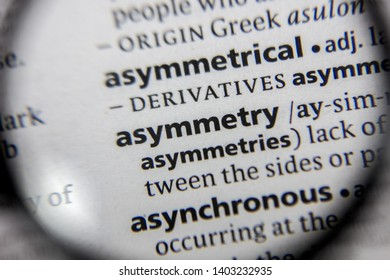 The word or phrase asymmetry in a dictionary book.
