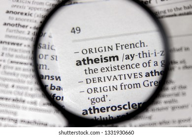 The word or phrase atheism in a dictionary.