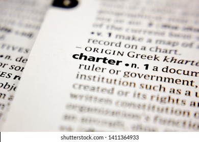 Word or phrase charter in a dictionary.