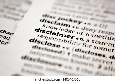 Word or phrase disclaimer in a dictionary.