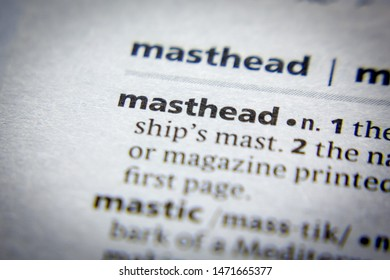 Word or phrase Masthead in a dictionary