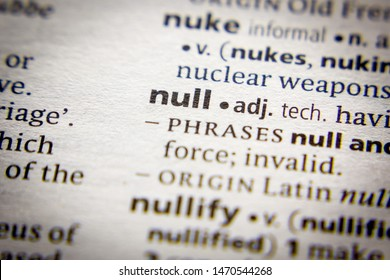 Word or phrase Null in a dictionary