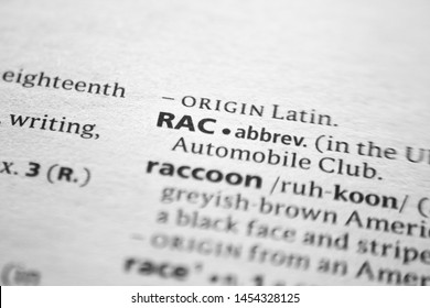 Word or phrase RAC in a dictionary