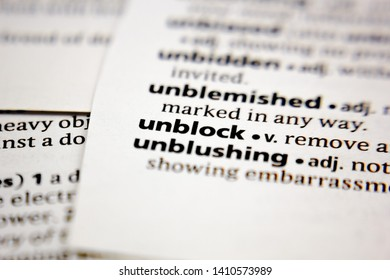 Word or phrase unblock in a dictionary.