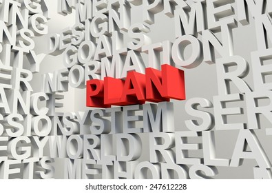 Word Plan in red, salient among other related keywords in white. 3d render illustration.