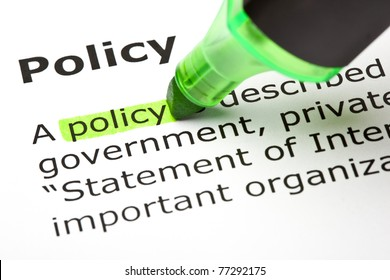 The word Policy highlighted with green marker.