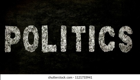 the word POLITICS with newspaper confetti and black background