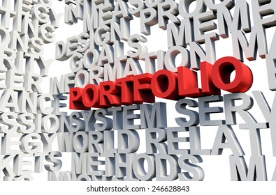 Word Portfolio in red, salient among other related keywords concept in white. 3d render illustration.