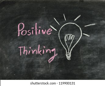 the word positive thinking and light bulb drawn on a chalk board,business concept