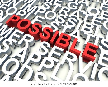 Word Possible in red, salient among other related keywords concept in white. 3d render illustration.
