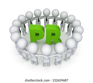 Word PR.Isolated on white background.3d rendered.