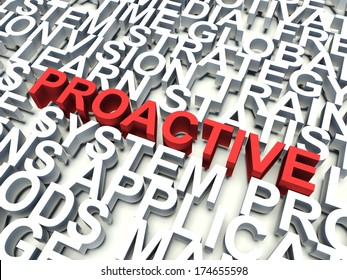 Word Proactive in red, salient among other related keywords in white. 3d render illustration.