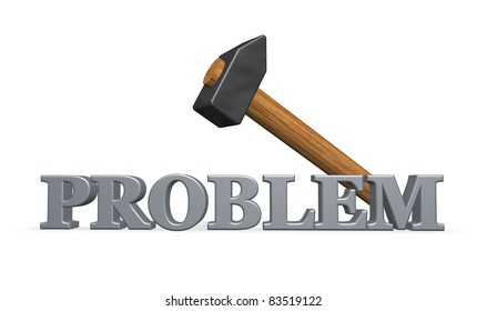 the word problem and a hammer - 3d illustration