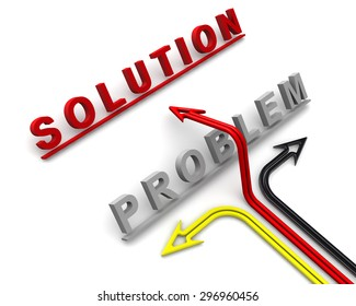 """The word """"problem"""", """"solution"""", target and arrows. The concept of problem solving"""