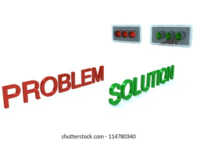 Word Problem stop before red signal and word Solution GO on grenn light of traffic light white background