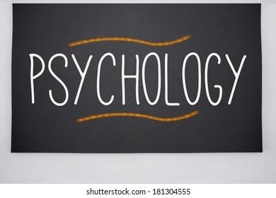 The word psychology written on big blackboard
