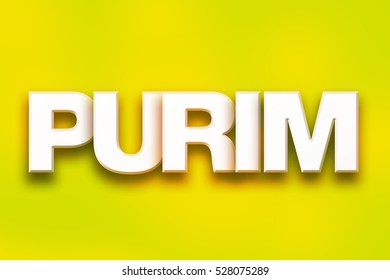 """The word """"Purim"""" written in white 3D letters on a colorful background concept and theme."""