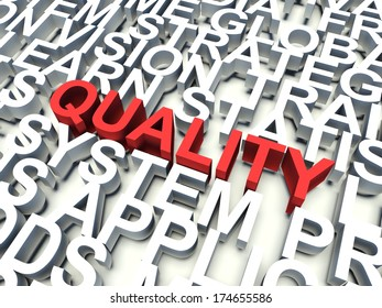 Word Quality in red, salient among other related keywords concept in white. 3d render illustration.