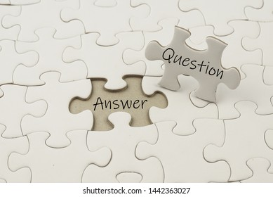 The word 'Question and Answer' on a piece of a puzzle, business concept or education
