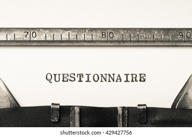 Word questionaire typed on an old typewriter