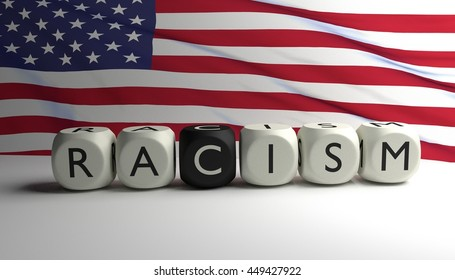 Word RACISM written on dices with flag of United States of America in background. Racism in the USA. 3D render.