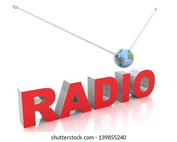 Word radio with antenna. Elements of this image furnished by NASA.