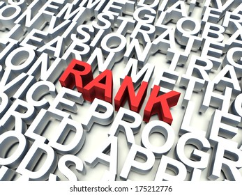 Word Rank in red, salient among other related keywords concept in white. 3d render illustration.