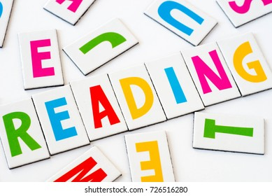 word reading made of colorful letters on white background